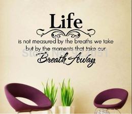 "Free Shipping: Dropshipping English Vinyl Wall Decals""Life Breath Away""Waterpoof Wall Stickers Words Home Decor size:40*70cm"