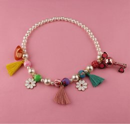 South Korea fashion jewelry Mickey tassel bell pearl necklace pendant accessories children deserve to act the role of
