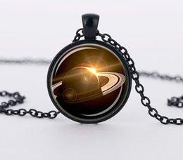 Wholesale Saturn Vintage Style Glass Cabochon Art Picture Necklace Planet Space UFO Charm Pendant Necklaces CN567