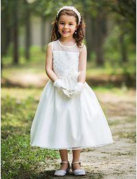 Lovely Cheap Pageant dresse Dress Tea Length Crew Handmade FlowerA Line Flower Girl Little Girls Tutu Kids communion Dress For wedding