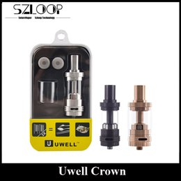 Wholesale Authentic Uwell Crown TC Atomizer Rose Gold ml Top Refilling Sub Ohm Tank Huge Vapor Black SS Color