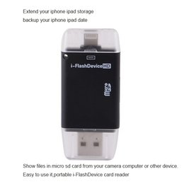 Wholesale Micro sd Portable i FlashDevice HD Card Reader OTG storage for iPhone6 for ipad for iPod Touch show files and backup your device