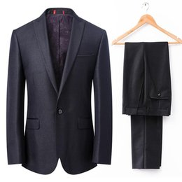 Wholesale Shiny Black Jackets For Men - Shiny Black Tuxedos for Grooms 2Pieces Mens Wedding Suits Peaked Lapel one Button Best Man Morning Dress(Jacket+Pants)Real Photo Custom