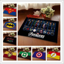 Wholesale 5 BBA5588 Superhero Doormat Superman Batman Captain America Animation Hero thor Bedroom Carpet Super Soft Mats Cartoon Floor Door Rugs