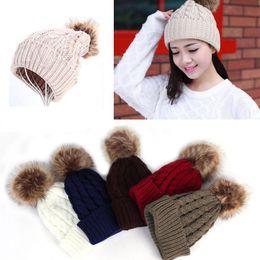 Wholesale-Hot 100% New Women Warm Winter Wool Knit Beanie Raccoon Fur Ball Hats Pom Bobble Hat Crochet Twisted Ski Cap Girl Bonnet W1
