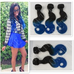 Oxette blue ombre hair weave extensions body wave, two tone color #1b blue 3pcs lot, Indian virgin human hair 3 bundles