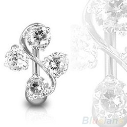 ELEGANT 4 GEM VINE REVERSE BELLY NAVEL RING CLASSY 085X