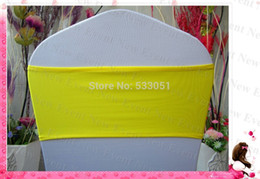 Wholesale-Lemon Yellow Color Single Layer Spandex Bands Lycra Band Chair Cover Sashes For Wedding Party Banquet Decoration