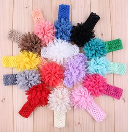 Factory Price Baby Crochet Headbands With Mesh Tulle Flower Elastic Hairbands Hair Accessories Girl Christmas Hair band Headwear For Photo