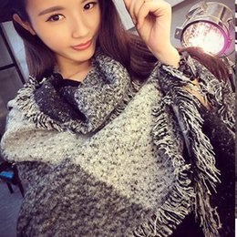 Wholesale New Autumn And Winter Fashion Street Shoot Beveled Edges Temperament Thick Warm Shawl Scarves