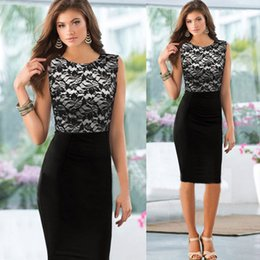 Wholesale 2015 women summer dress Elegant formal wear to work Pinup Floral Lace Sleeveless dress Bodycon Pencil Shift Dress party dress Black