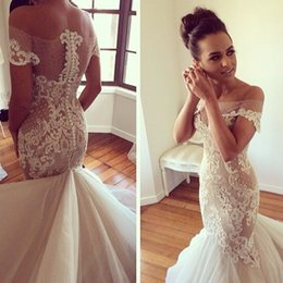 Wholesale Off the Shoulder Wedding Dresses J Aton Couture Bridal Spring Cathedral Bateau Mermaid Wedding Gowns with Appliques