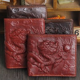 Fashion Men's genuine leather dragon design Cowboy men pockets card clutch wallet Brand new leather purse wallets for men free shipping