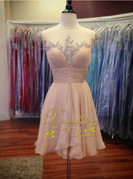 Lovely Pink Homecoming Dresses Sheer Jewel Neck Chiffon A-Line with Beads Zipper Back 2016 Short Evening Party Gowns