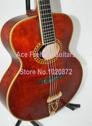 Wholesale All solid Inch Single Spruce Body Acoustic Guitar Red Color sample on sale in Stock surface has scratches