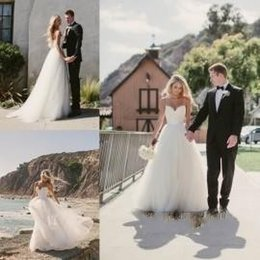 2015 Wedding Dresses Beach Bridal Gowns with Spaghetti Straps A Line Summer Wedding Gowns with Belt Lace Bodice Tulle Long Party Dresses