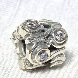 Ocean Wave Charm S925 Sterling Silver Bead with Clear Cz Fits European Pandora Jewelry Bracelets Necklaces & Pendant