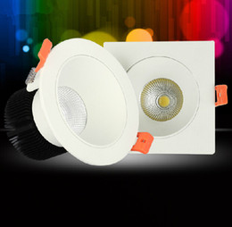 Square Round White shell aluminum 15W LED COB chip downlight Recessed LED Ceiling light Spot Light Lamp White  warm white led down lamp