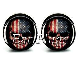 Wholesale ear gauges bag American skull ear plug gauges tunnel ear expander ASP0477