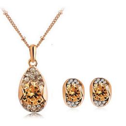 Eight Hearts Eight Arrows Zircon Crystal Earrings Necklace set Trend Jewelry High Grade Zircon Jewelry Sets For Women 1189