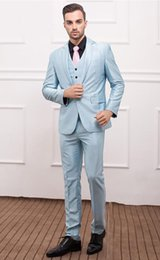 Wholesale 2015Custom Made Slim Fit Groom Tuxedos Notch Lapel Men s Suit Baby Blue Groomsman Wedding Dinner Suit Jacket Pants Vest tie Free Shiping