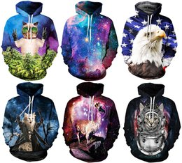 Wholesale 2016 NWT Winter Autumn Galaxy Print Punk Men Fashion D Print Hoodies With Hat Pocket Coat Digital Gothic Print Hooded Pullovers