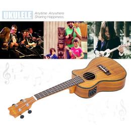 Wholesale ammoon quot Cutaway Ukulele Hawaii Guitar with LED EQ Koa Plywood Cowry Shell Brims OX Bone Saddle Strings Instrument Gift I1639
