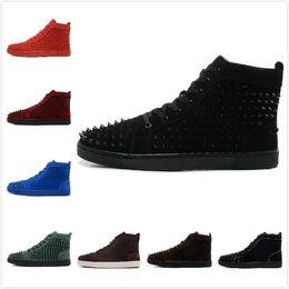 Wholesale 2015 Nouveau Hommes Femmes Suede Avec Spikes Lace Up High Top Sneakers Red Bottom Lovers Designer Luxury Cuir véritable Souliers