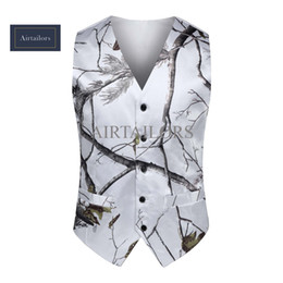 2018 White Camo Men Vest Camouflage Mens Suit Vest Slim Groom Vests Realtree Camo Outerwear Spring Autumn Summer Wedding Vest Men(Vest+Tie)
