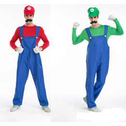 5 Piece Super Mario Brothers Masquerade Costume Cosplay for Adult Men Hollaween Costumes kit with Hat Beard Glove Size M L XL