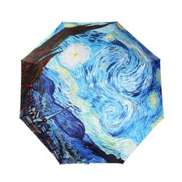 Wholesale Van Gogh Masterpiece Oil Painting inch Triple Folding Umbrella Anti UV Parasol Sunny and Raining Umbrella