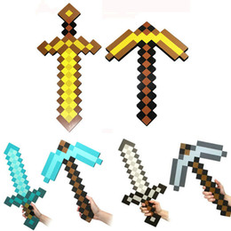 Wholesale Minecraft Sword Pickaxe EVA Foam Diamond sold by piece Weapons Axe Foam Pick Gold Grey Blue Figure Toys for kids Chirstmas gifts