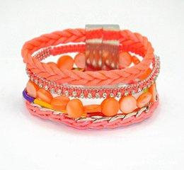 Wholesale New infinity statement bracelets European alloy woman geometric style gem bracelets DIY Beach shell drill magnetic clasp bracelet jewelry