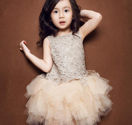 Wholesale 2015 New Arrival Girls Party Dresses Champagne Cotton Dresses With Lace And Sequins Kids Luxury Formal Party Dresses Best Seller