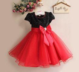 Flower Girl Dress Paillette Children Wedding Party Princess Dresses Ribbon Ball Gown Big Bowknot Kids Formal Dress 1pcs Retail TR32