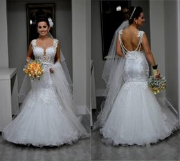 Mermaid Wedding Dresses 2016 Backless Bridal Gowns with Straps Illusion Bodice Appliques Spring Cathedral Wedding Gowns Cheap