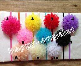 Wholesale 30pcs Chiffon Flower girl headband chic nylon organza ribbon flower satin tulle flower Hair accessorie Elastic slender rubber band PJ5237