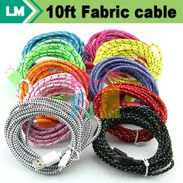 Wholesale 1m Ft Ft Ft Fabric Braided Micro Usb V8 CABLE Wire Data Sync Cloth Woven Fiber Knitted Colorful Nylon Cords for Samsung Phone HTC One