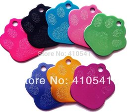 2015 Free Shipping Pet Products Mix Colors Pet ID Tags Custom Dog Cat Tags Personalized Dog Paw shaped tag Dog Name tag