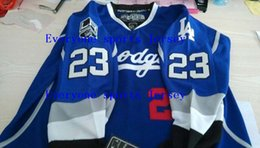 Factory Outlet, Dustin Brown #23 LA Kings Dodgers Limited Blue Hockey Jersey Blue Men Hockey Jersey or Custom any player for any name jersey