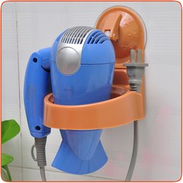 Wholesale 2PCS Fashion Bathroom Accessory Round Rack Wall Mount Vacuum Suction Cup Hair Dryer Holder Hang Stand Flat Home Organizer
