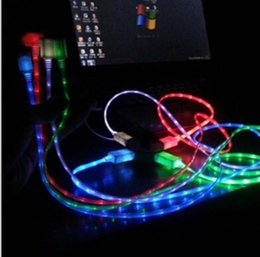 Wholesale Illuminated Smile Face m ft LED Light Micro USB V8 round Visible Flashing Charger Cable For Samsung S3 S4 HTC NOKIA IPHONE
