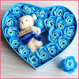 Wholesale Woman Romantic gift plush bear heart rose soap flower toilet soap roses bath supplies Every set flower