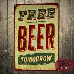 Wholesale Free Beer Bar Poster Retro Metal Craft Decor Wall art Signs CM Mix Items A