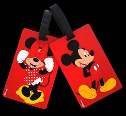Wholesale NEW fashion Cartoon Silicone plane LUGGAGE TAG lovely D Red mickey Travel bag tag bag tag Toys best gifts cc110