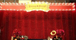 Wholesale High Quality x6m elegant water wave wedding curtain backdrops swags drapes for wedding party decoration with Fedex