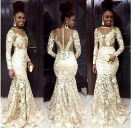South African Style Evening Dresses Lace Champagne Sheer Neck Long Sleeve Mermaid Prom Dresses For Woman Plus Size Formal Party Dresses