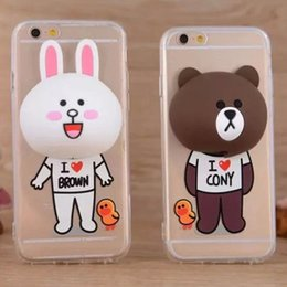 Wholesale For iPhone6 s Plus sPlus cartoon bear and rabbit shell cases with bobbin winder bracket