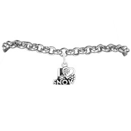 I LOVE SNOW Woman Charm Rolo Chain Bracelet 100pcs A lot Link Chain Antique Silver Plated