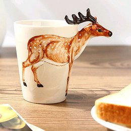 Wholesale African Prairie Animals Coffee Cup Eco Friendly Ceramic ml D Hand Paint Cup Mug Birthday Gift Festival Favors SK599